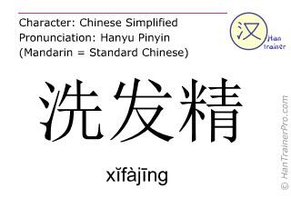 Caracteres chinos  ( xifajing / xĭfàjīng ) con pronunciación (traducción española: champú )