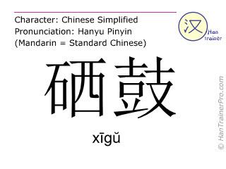 Caracteres chinos  ( xigu / xīgŭ ) con pronunciación (traducción española: cartucho de tóner )