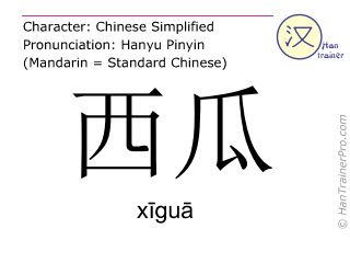 Chinese characters  ( xigua / x&#299gu&#257 ) with pronunciation (English translation: watermelon )