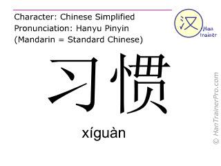 Caractère chinois  ( xiguan / xíguàn ) avec prononciation (traduction française: coutume )