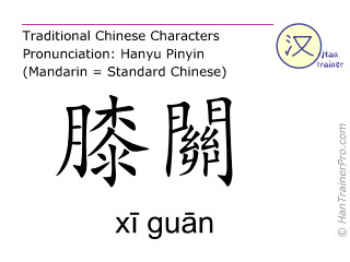 Chinese characters  ( xi guan / xī guān ) with pronunciation (English translation: Liver 7 )