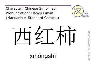 Caractère chinois  ( xihongshi / xīhóngshì ) avec prononciation (traduction française: tomate )
