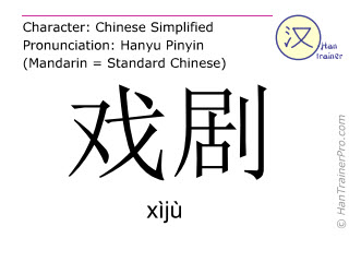 Chinese characters  ( xiju / xìjù ) with pronunciation (English translation: theatre )