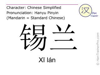 Chinese characters  ( Xi lan / Xī lán ) with pronunciation (English translation: Ceylon )