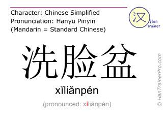 Chinesische Schriftzeichen  ( xilianpen / xĭliănpén ) mit Aussprache (Deutsche Bedeutung: Waschbecken )