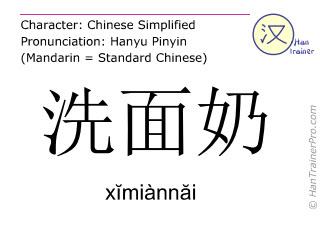 Chinesische Schriftzeichen  ( ximiannai / xĭmiànnăi ) mit Aussprache (Deutsche Bedeutung: Reinigungsmilch )