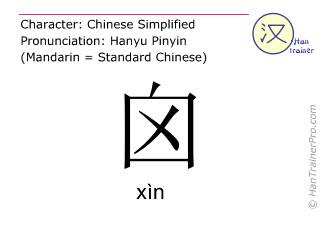 Chinesische Schriftzeichen  ( xin / xìn ) mit Aussprache (Deutsche Bedeutung: Schädel )