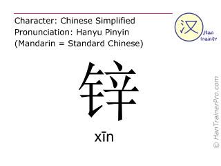Chinesische Schriftzeichen  ( xin / xīn ) mit Aussprache (Deutsche Bedeutung: Zink )
