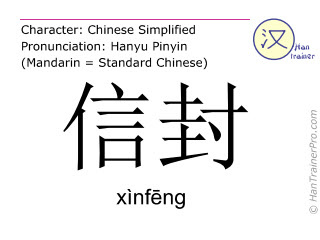 Chinese characters  ( xinfeng / xìnfēng ) with pronunciation (English translation: envelope )