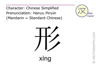 Chinesische Schriftzeichen  ( xing / xíng ) mit Aussprache (Deutsche Bedeutung: Form )