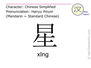 Chinese characters  ( xing / xīng ) with pronunciation (English translation: star )
