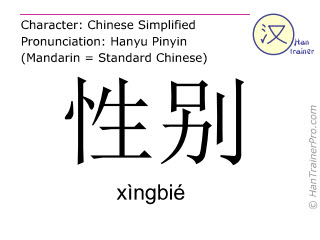汉字  ( xingbie / xìngbié ) 包括发音 (英文翻译: sex )