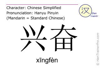 Caracteres chinos  ( xingfen / xīngfèn ) con pronunciación (traducción española: ser excitado )
