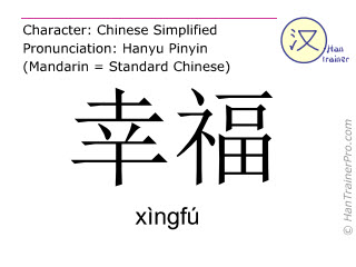 Chinese characters  ( xingfu / xìngfú ) with pronunciation (English translation: happy )