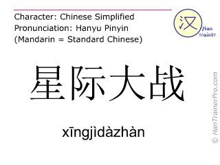 Chinese characters  ( xingjidazhan / xīngjìdàzhàn ) with pronunciation (English translation: Star Wars )
