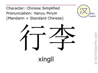 Chinesische Schriftzeichen  ( xingli / xínglĭ ) mit Aussprache (Deutsche Bedeutung: Gepäck )