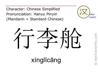 Chinesische Schriftzeichen  ( xinglicang / xínglĭcāng ) mit Aussprache (Deutsche Bedeutung: Gepäckschließfach )