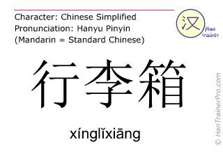 Chinesische Schriftzeichen  ( xinglixiang / xínglĭxiāng ) mit Aussprache (Deutsche Bedeutung: Koffer )