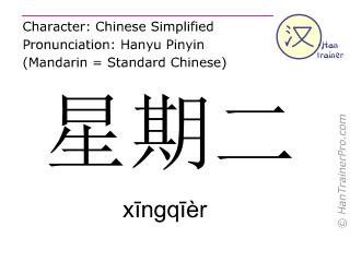 Chinesische Schriftzeichen  ( xingqier / xīngqīèr ) mit Aussprache (Deutsche Bedeutung: Dienstag )