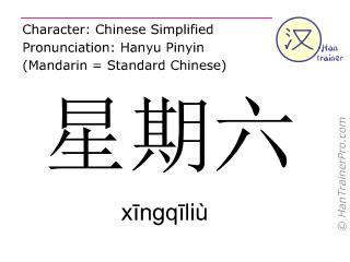 Chinese characters  ( xingqiliu / xīngqīliù ) with pronunciation (English translation: Saturday )