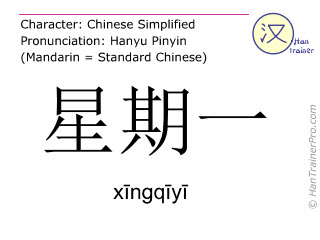 Chinese characters  ( xingqiyi / xīngqīyī ) with pronunciation (English translation: Monday )