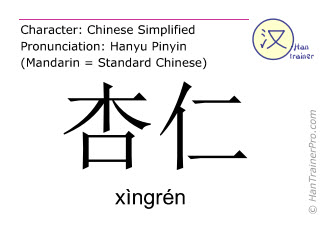 Chinese characters  ( xingren / xìngrén ) with pronunciation (English translation: almond )