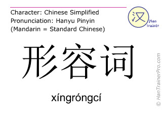 Chinese characters  ( xingrongci / xíngróngcí ) with pronunciation (English translation: adjective )