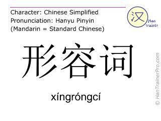 Caracteres chinos  ( xingrongci / xíngróngcí ) con pronunciación (traducción española: adjetivo )