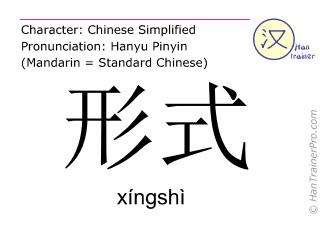 Chinese characters  ( xingshi / xíngshì ) with pronunciation (English translation: form )