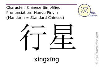 Chinesische Schriftzeichen  ( xingxing / xíngxīng ) mit Aussprache (Deutsche Bedeutung: Planet )