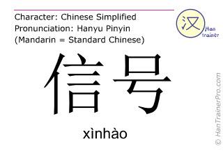 Chinesische Schriftzeichen  ( xinhao / xìnhào ) mit Aussprache (Deutsche Bedeutung: Signal )