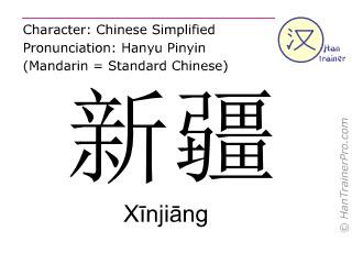 Caractère chinois  ( Xinjiang / Xīnjiāng ) avec prononciation (traduction française: Xinjiang )