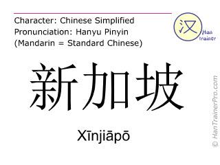 Chinese characters  ( Xinjiapo / Xīnjiāpō ) with pronunciation (English translation: Singapore )