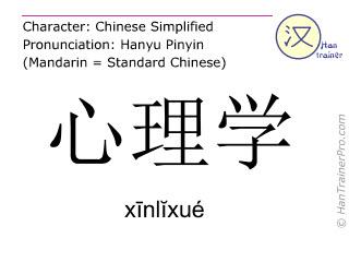 汉字  ( xinlixue / xīnlĭxué ) 包括发音 (英文翻译: psychology )