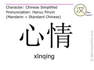 Chinese characters  ( xinqing / xīnqíng ) with pronunciation (English translation: mood )