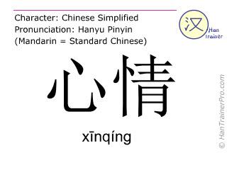 Chinesische Schriftzeichen  ( xinqing / xīnqíng ) mit Aussprache (Deutsche Bedeutung: Laune )