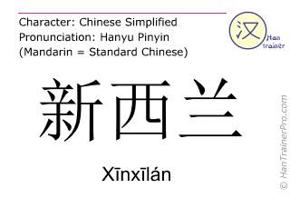 Caractère chinois  ( Xinxilan / Xīnxīlán ) avec prononciation (traduction française: Nouvelle Zélande )