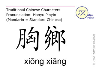 Chinese characters  ( xiong xiang / xiōng xiāng ) with pronunciation (English translation: Spleen 19 )