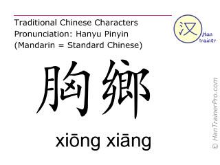 Chinesische Schriftzeichen  ( xiong xiang / xiōng xiāng ) mit Aussprache (Deutsche Bedeutung: Milz 19 )