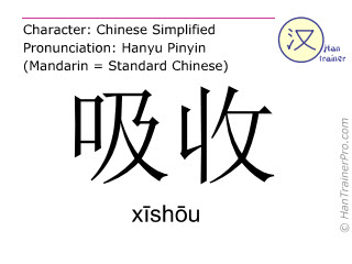 Chinese characters  ( xishou / xīshōu ) with pronunciation (English translation: to absorb )