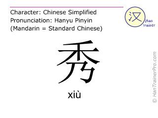 Chinese characters  ( xiu / xiù ) with pronunciation (English translation: <m>beautiful</m> )