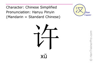 Chinese characters  ( xu / xŭ ) with pronunciation (English translation: to allow )