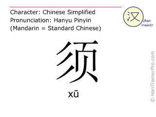 Chinese characters  ( xu / xū ) with pronunciation (English translation: <m>moustache</m> )