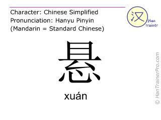 汉字  ( xuan / xuán ) 包括发音 (英文翻译: to hang )