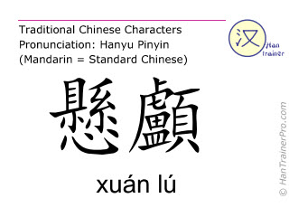 Chinesische Schriftzeichen  ( xuan lu / xuán lú ) mit Aussprache (Deutsche Bedeutung: Gallenblase 5 )