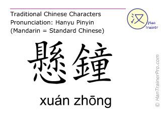 Caracteres chinos  ( xuan zhong / xuán zhōng ) con pronunciación (traducción española: vesícula biliar  39 )
