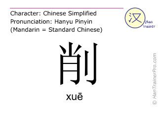 Chinesische Schriftzeichen  ( xue / xuē ) mit Aussprache (Deutsche Bedeutung: schneiden )