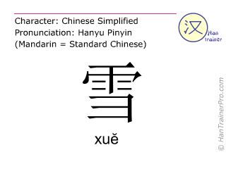 汉字  ( xue / xuĕ ) 包括发音 (英文翻译: snow )