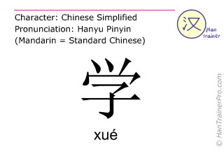 Chinesische Schriftzeichen  ( xue / xué ) mit Aussprache (Deutsche Bedeutung: lernen )