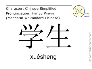 Chinese characters  ( xuesheng / xuésheng ) with pronunciation (English translation: student )